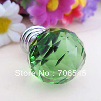 wholesale 30mm Green Crystal Cabinet Knob Drawer Pull Handle Kitchen  Wardrobe Knob