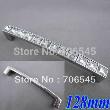 Crystal Glass 128mm Cabinet Knob Pull Handle Drawer Cupboard Door Wardrobe