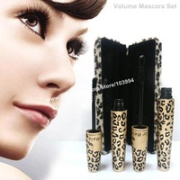 100% Quality Guarantee Car Mela Volume Mascara Black Mascara Set Gel & Fiber Lengthening & Curving Mascara with Leopard Box