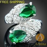 [Arinna Jewelry] Free shipping Crystal rings 18k gold plated Fashion Ring Rhinestone green Crystals Rings for Women  J2708