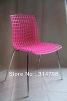 Mesh Design Plastic Chair Made of PP With Chromed Base, Available in Different Colors , Ideal For Dining Room Chair