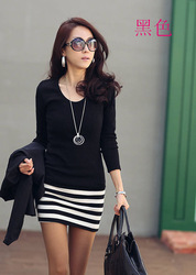 2013 women work wear spring long-sleeve women's slim hip spring basic shirt stripe patchwork female one-piece dress(China (Mainland))