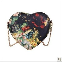 2012 stylish design  vintage oil painting flower cross-body  shoulder heart women's handbag heart purse clutch bag