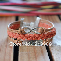 Free shipping 12PCS/Lot  Leather Letters LOVE Charm Bracelets Best Wish For Girlfriend B00623