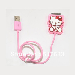Free Shipping Hello Kitty USB Data Line Charging Cable for iphone 3G 4 4s / ipads / ipods Pink(China (Mainland))