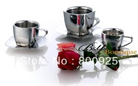 250ml   stainless steel-double walls-square bottom coffee cup set-tea cup set