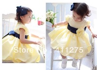 New, free shipping, Yellow princess necklace skirt/ girl's dress skirt 4pcs/1lot girl's dress skirt size: 90-100-110-120