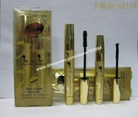 NEW! Free Shipping 5SET=10PCS Magic Mascara Combination Golden Design Mascara 1 Transplanting Gel 1 Natural Fiber