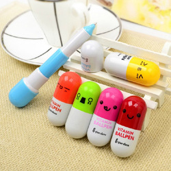 2013Office supplies Retractable pen/Ball point cartoon Telescopic face Vitamin Capsule pills Pen gift 30pcs/lot(China (Mainland))