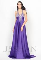 11P059 Halter V-Neck Rhinestoned Beaded Empire A-Line Prom Elegant Gorgeous Luxury Unique Brilliant Evening Dress Party Dress