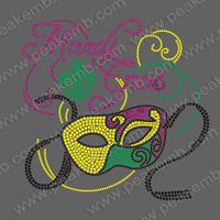 Free DHL Shipping Fast Turnaround Mardi Gras Mask with Fleur De Lis Design Rhinestone T-shirt Transfers Motif