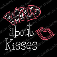 30pcs/Lot Free Shipping Crystal Letters Wild About Kisses Iron on Rhinestone Transfers Motif For Valentines Free Custom Design