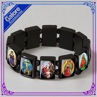 religous picture jesus black wood saint stretch stirng bracelet hot sale item free shiping