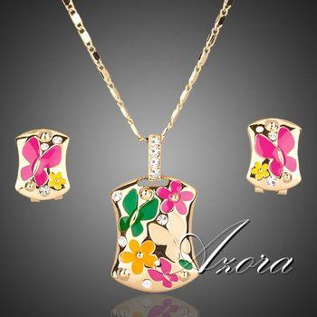 Азора 18 К настоящее позолоченные многоцветный цветок клип серьги и ожерелье ювелирные комплект TG0002
