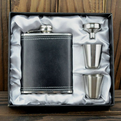 Black veneer hip flask grey set stainless steel hip flask gift set querysystem hip flask christmas gift(China (Mainland))