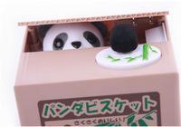 FREE SHIPPING cute plastic animal toy figure novelty item hidden safe steal money box panda piggy bank for kid saving cash coin