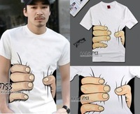 Hot sale  men's T shirt  creative big hand printed 3D vision cotton t shirt personality  top tees 3 colors S-XL retail CM063