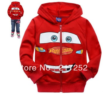wholesale cartoon Red Cars childrens clothing boy's girl's top shirts Zipper cardigan Hooded Sweater hoodie coat jacket