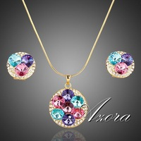 18K Real Gold Plated Multicolour Austrian Crystals Stud Earrings and Pendant Necklace Jewelry Sets FREE SHIPPING!(Azora TG0003)