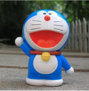 FREE SHIPPING japan kawaii novelty plastic home decor safe saving money box for kid adult action toy figure DORAEMON piggy bank(China (Mainland))