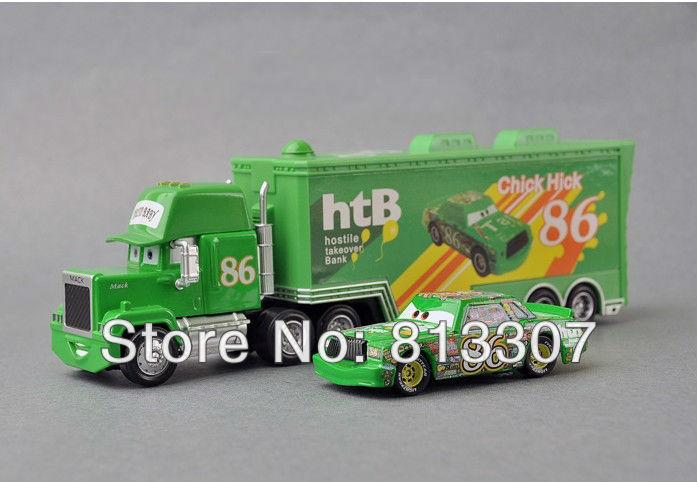 truck + car Pixar Cars 2 Mack hauler MACK TRUCK small Chick Hick + HT86 make 1set Total 2pcs(