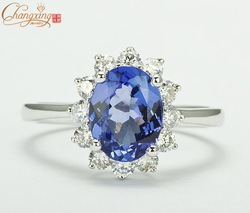 Jewelry Solid 14K White Gold 1.89ct Natural Flawless Tanzanite DIAMOND Engagement Fine RING 14CT Gold Promotion(China (Mainland))