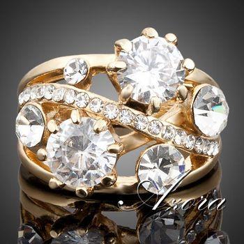 Азора 18 К настоящее позолоченные великолепная прозрачный Stellux австрийский хрусталь кольцо TR0005
