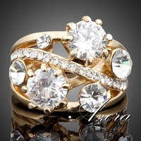 AZORA 18K Real Gold Plated Gorgeous Transparent Stellux Austrian Crystal Ring TR0005