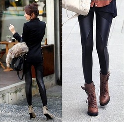 2013 Fashion and Both sides oblique skin lace on cotton leggings in leather stitching for woment gift drop shipping(China (Mainland))