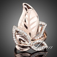18K Real Gold Plated SWA ELEMENTS Gorgeous Austrian Crystal Gold Leaves Design Ring FREE SHIPPING!(Azora TR0007)