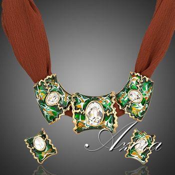 Азора 18 К позолоченный Stellux многоцветный дизайн клип серьги и 3 шт. очарование кулон ожерелье комплект TG0005
