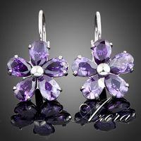 AZORA Platinum Plated Purple Flower Stellux Austrian Crystal Stud Earrings TE0005