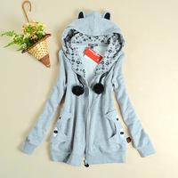 Ao2 cat ears a02 juniors clothing plus velvet thickening winter women's sweatshirt outerwear