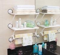 Shuangqing double layer double bath kitchen rack suction wall shelf double layer combination bath rack