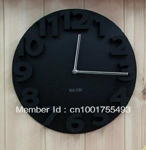 Art wall clock mute creative stereoscopic digital clocks wall clock watch fashion of modern minimalist living room wall