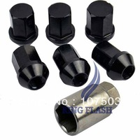20PCS Black P:1.5, L:35mm Aluminum Car Wheel Closed End Lug Nuts Free Shipping 8346