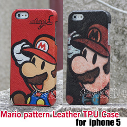 10pcs/lot.high quality Game characters pattern Leather TPU Back Cover Case For iphone 5 5G ,free shipping(China (Mainland))