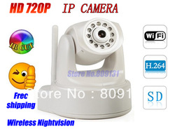 Free Shipping Megapixels(720P) Pan/tilt H.264 wireless IP Camera Support 32GB SD Card support Ipad viewing Alarm WIFI(China (Mainland))