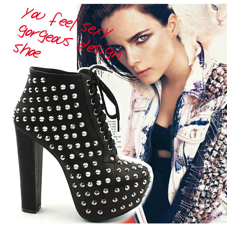 hot sale 2013 Jeffrey campbell fashion boots rivets punk strap platform pumps ankle women boots brock sexy shoes(China (Mainland))