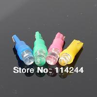 free shipping 10pcs/lot T5 1led LED Car Indicator Light Interior Bulbs Wedge Lamp Blue,Gree,Red,Yellow