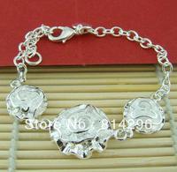 Free  shipping   Female three rose bracelet 925 silver jewelry