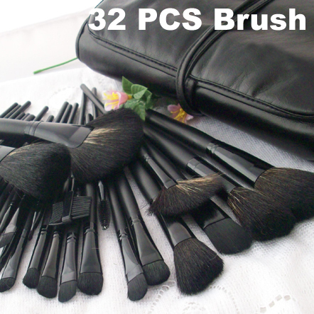 32 PCS Pro Makeup Brush Set & 32 brushes + Black Pu Leather case & Make up Brushes cosmetic Sets Makeup bursh(China (Mainland))