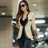 Free shipping 2013 Spring elegant popper deep v neck suit jacket women double pocket shoulder pads pad blazer Coat