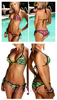 Cheaper Hot Sexy Green/ Pink Zebra Print Bikini Top & Bottom Swimwear Free Shipping @AS116