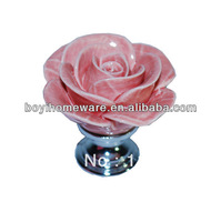hand made ceramic pink rose knobs with silver chrome base flower knob cabinet pull kitchen cupboard knob kids drawer knobs MG-16