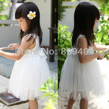 Free Shipping Sunlun Girls' White Roses Vest Dress Beautiful Little Girls Princess Dress SCG-6029