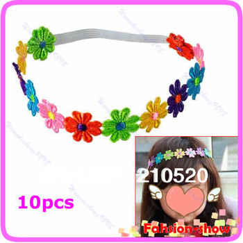 10pcs/lot New Cute Baby Flower Headband Kid Girl Princess Headdress Elasticity Hair Band Free Shipping