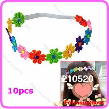 10pcs/lot New Cute Baby Flower Headband Kid Girl Princess Headdress Elasticity Hair Band Free Shipping