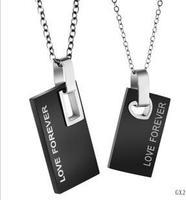 Love Forever Letter Titanium Steel Couples Necklace  1 pair