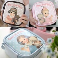 6pcs/lot sweet paper doll mate small pu cosmetic bag make up pouch organizer clutch bag toiletry kit free shipping